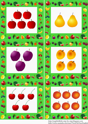 fruit flashcards in plural for teaching kids