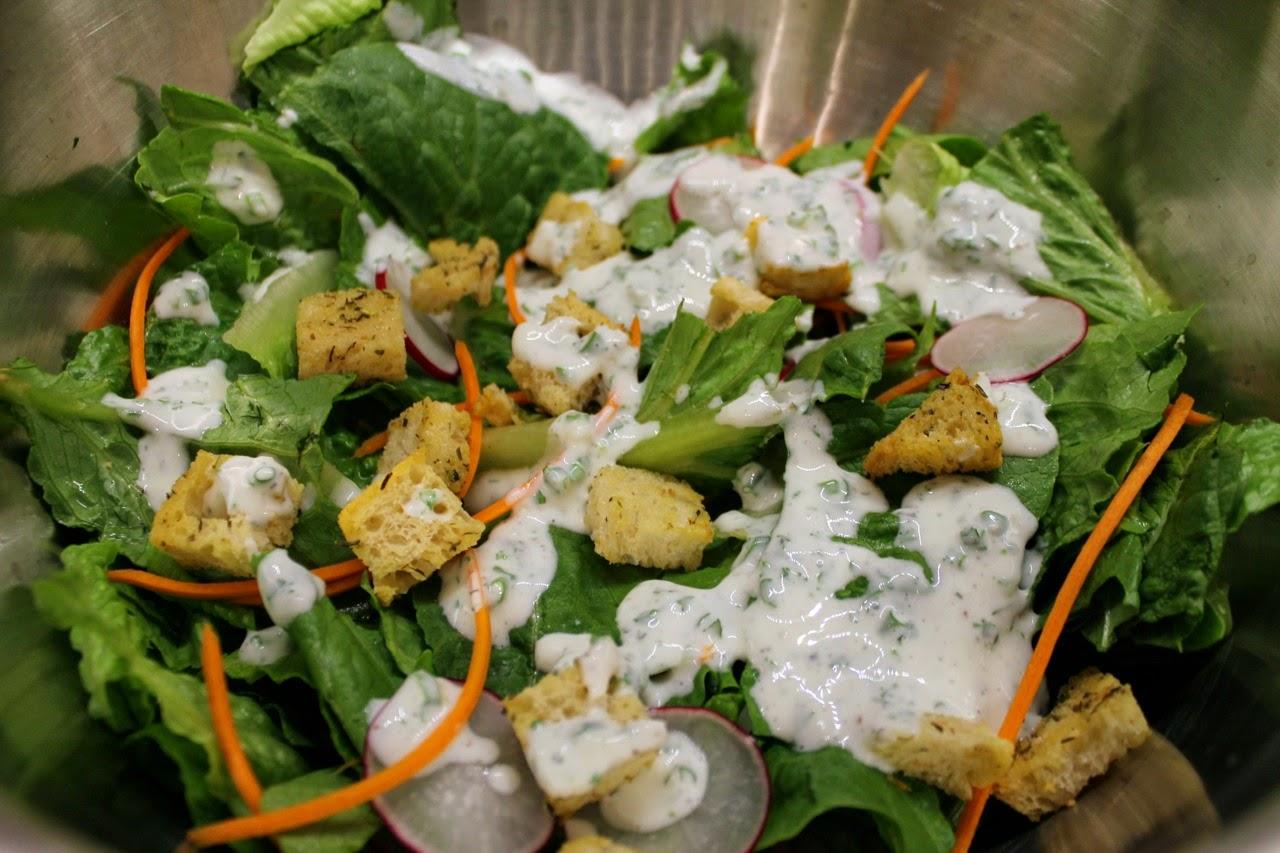Salad with Greek Yogurt Ranch Dressing