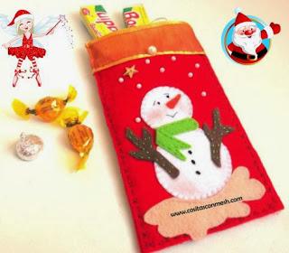 Manualidades bolsas navide as para dulces cositasconmesh for Manualidades navidenas preescolar