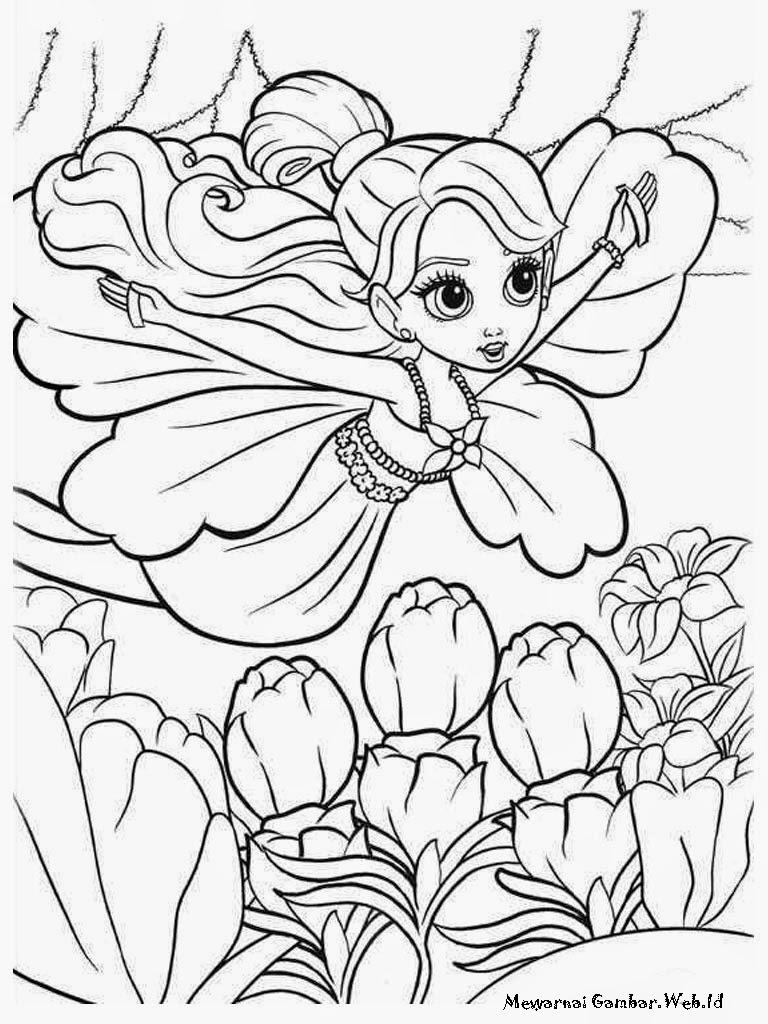 Buku Mewarnai Gambar Barbie Thumbelina Untuk Anak Perempuan