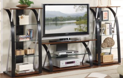 tv stand and decorative shelves photo