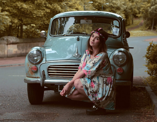 morris minor vintage car, hippy inspired vintage look, floral miss guided dress, perfect festival wear, styled with a hippy bohemian flower head chain.