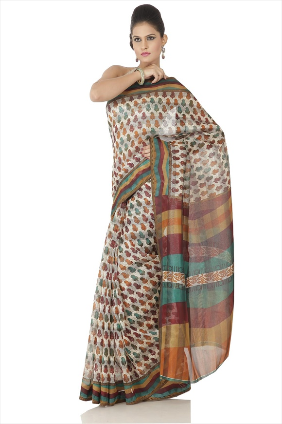 Cream Cotton Net Saree