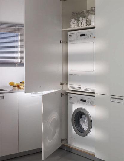 Un lavadero bien organizado cocinas con estilo - Mueble lavadora secadora ...
