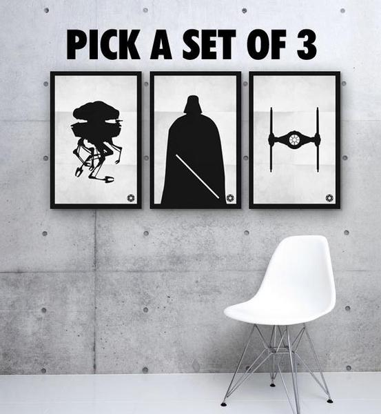 Black & White Star Wars Poster Set