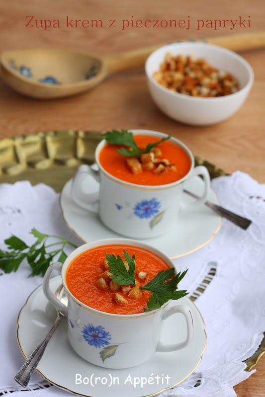 Zupa krem z pieczonej papryki i czosnku
