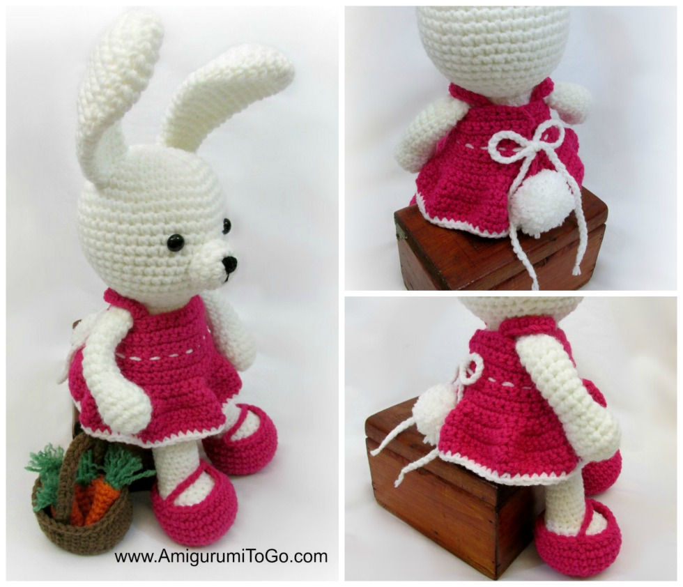 amigurumi bunny wearing pink crochet dress