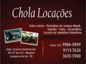Laranjeiras do Sul:Chola locações de máquinas, caminhões munck, caminhões boiadeiros e etc!!!