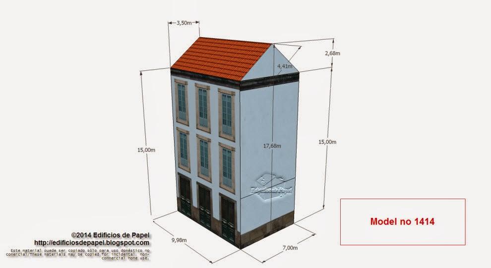"""Edificios de Papel -Modelo 1414 - Casona Urbana Gallega 2. Serie """"Ourense"""" - """"Ourense"""" series"""