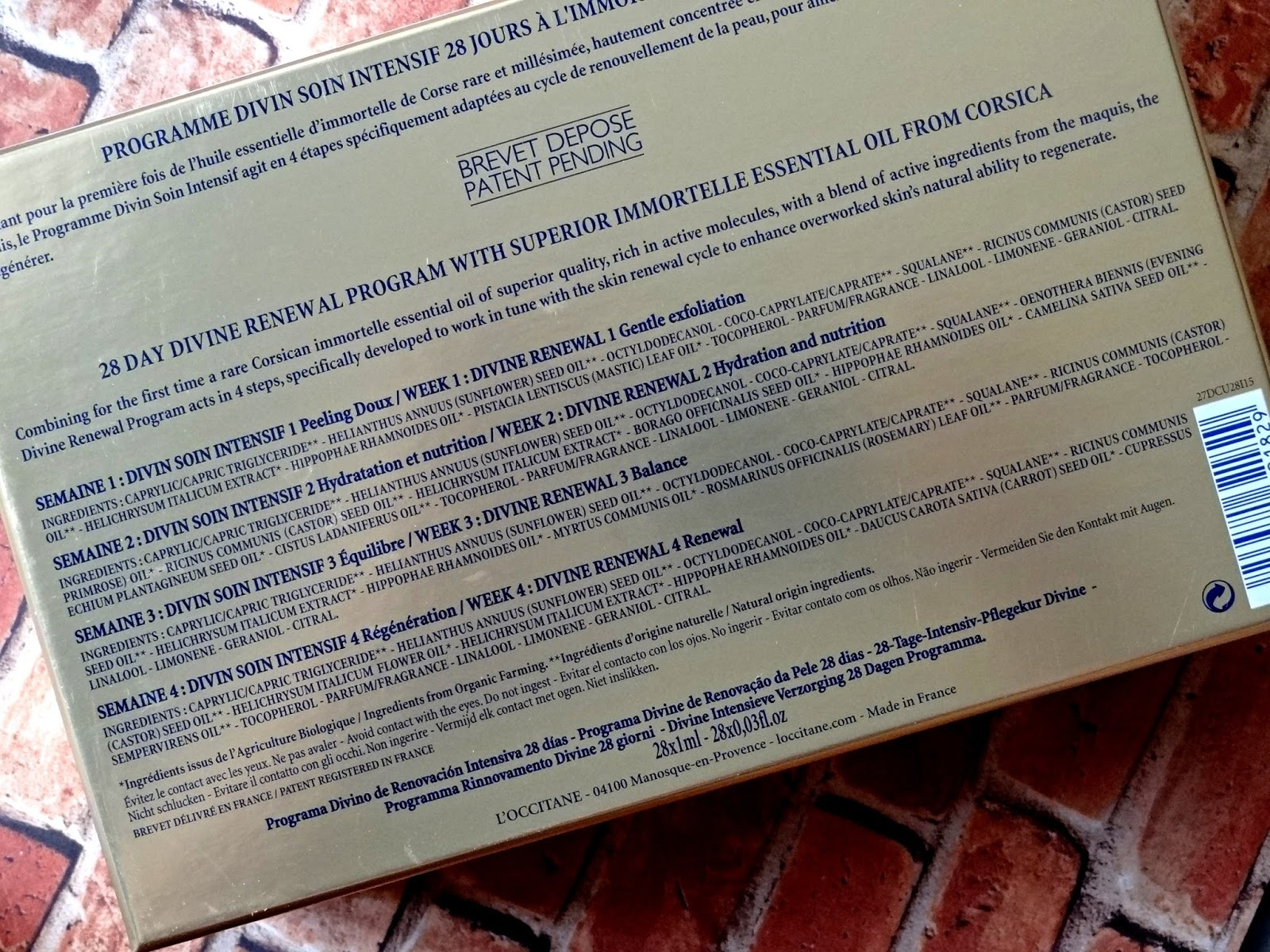 L'Occitane Immortelle 28 Day Divine Renewal Program Ingredients