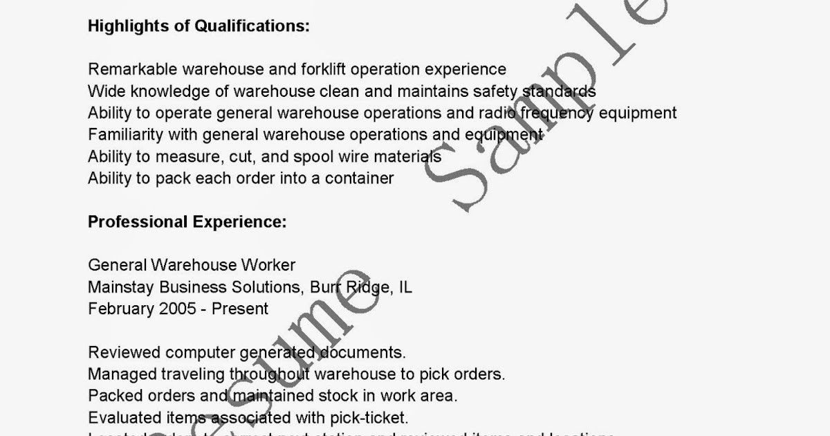 general warehouse resume sample