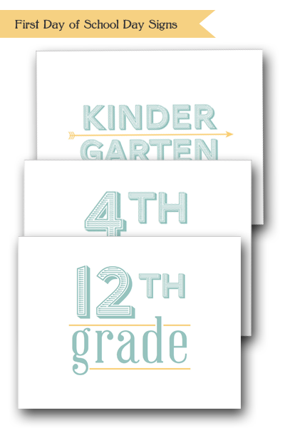 Back to School FREE Downloadable PDF of grade level sign for first day of school