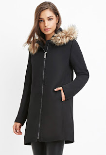 Forever 21 Faux Fur-Trim Hooded Overcoat