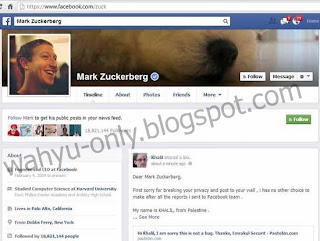 Pemuda Palestina bobol akun Facebook Zuckerberg
