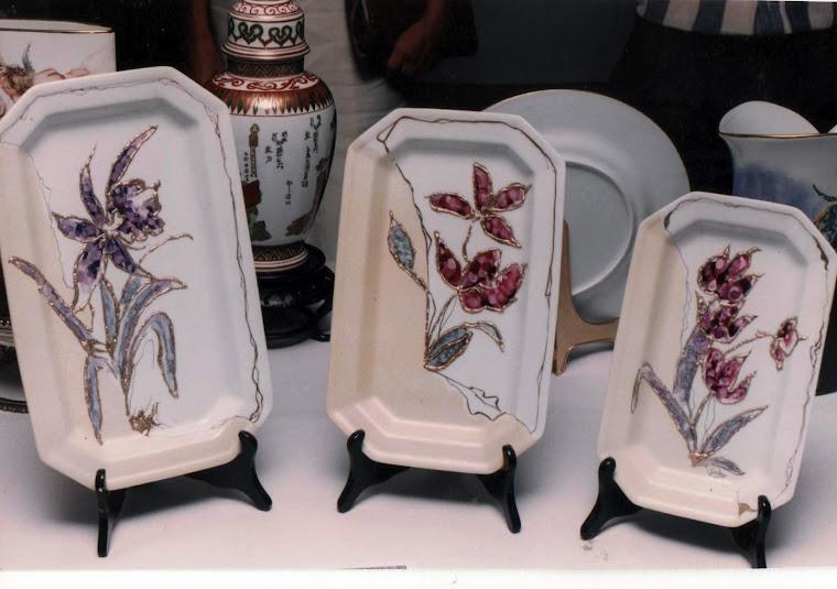 Serie de bandejas Pintura sobre porcelana
