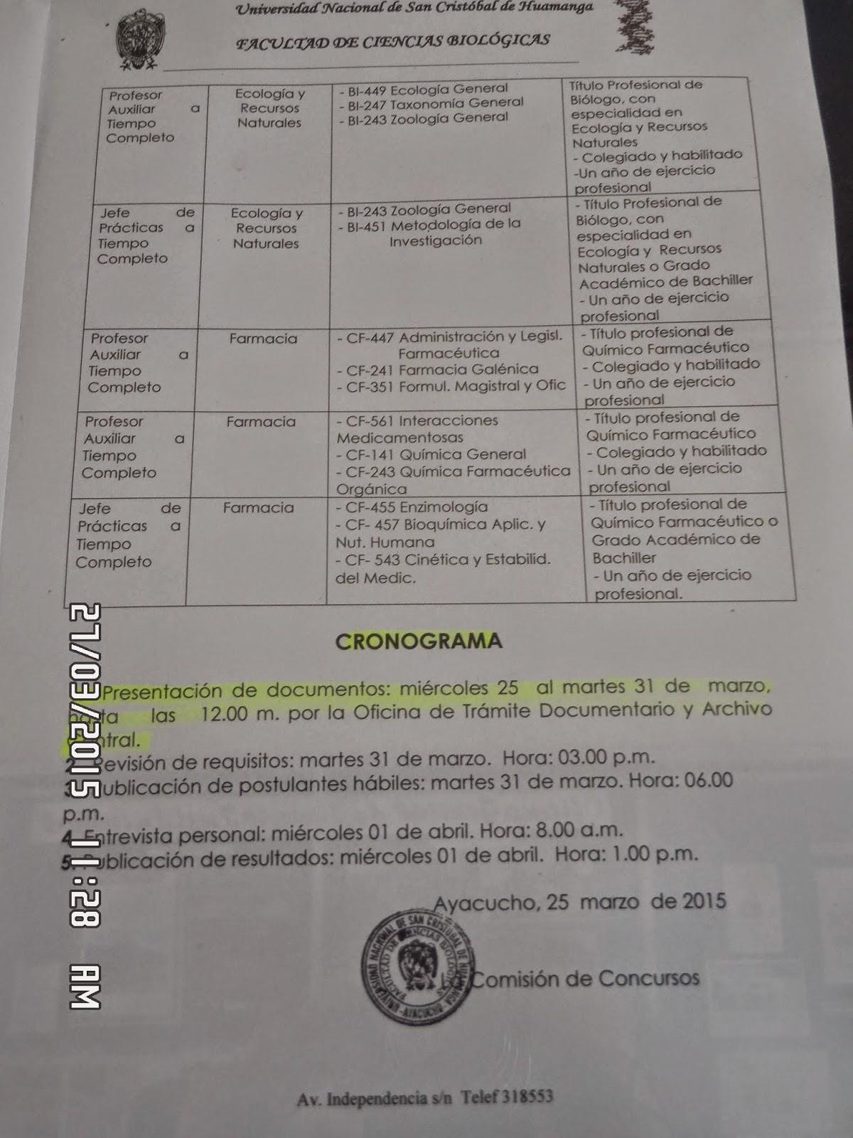 Perubi logos convocatoria fcb unsch 7 plazas docentes for Convocatoria plazas docentes