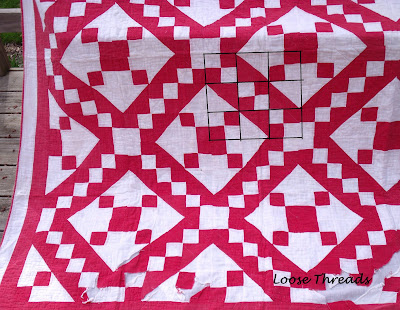 Loose Threads Antique Red And White Quilt Block Tutorial