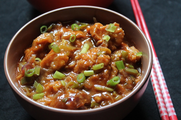 Vegetable Manchurian Gravy Recipe - Zesty Veg Cabbage Manchurian