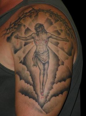 jesus clouds tattoo