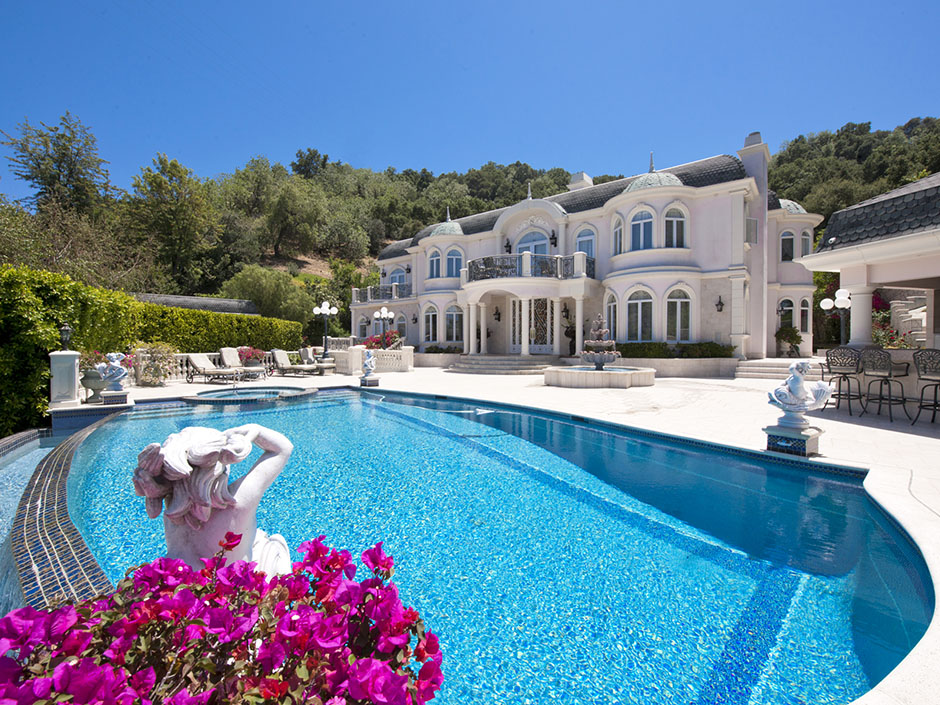Passion for luxury french chateau in studio city los for Los angeles homes for sale with pool