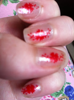 stamping nailart flowers red