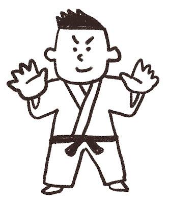 柔道家のイラスト(スポーツ) モノクロ線画
