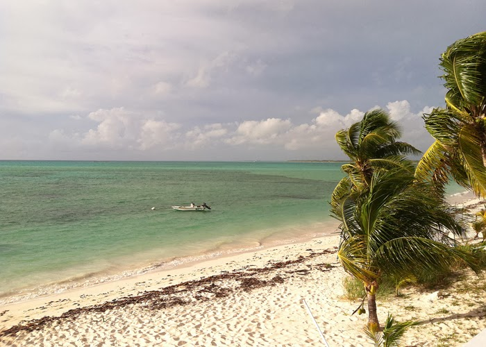 View of bonefish flats from deck of house, Abaco, the Bahamas