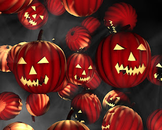 Red Halloween Pumpkins Dark Gothic Wallpaper