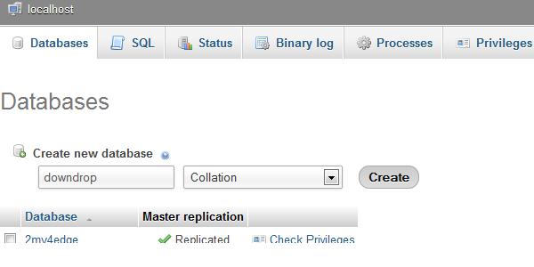 localhost database  create structure image