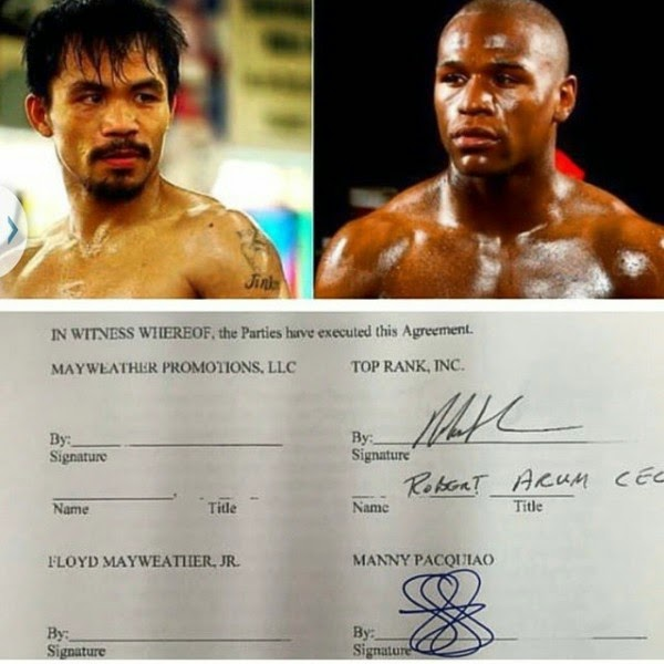 Manny Pacquaio's signature for his May 2015 fight against Mayweather