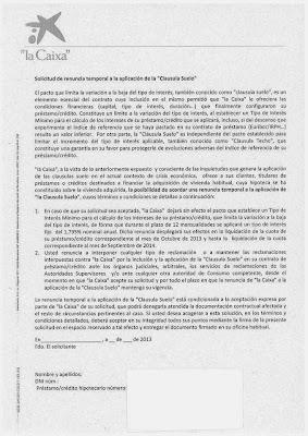 Carta de la Caixa proponiendo la eliminación temporal de las clausulas suelo en sus hipotecas