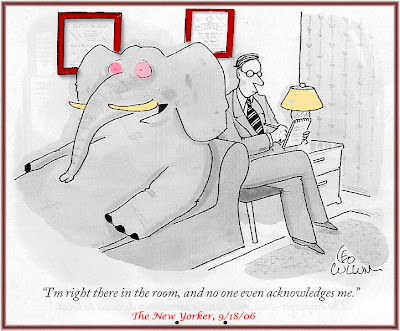 New Yorker cartoon of elephant in therapist's office