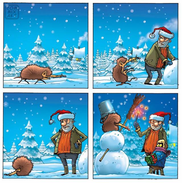 ежик снеговик и дед мороз