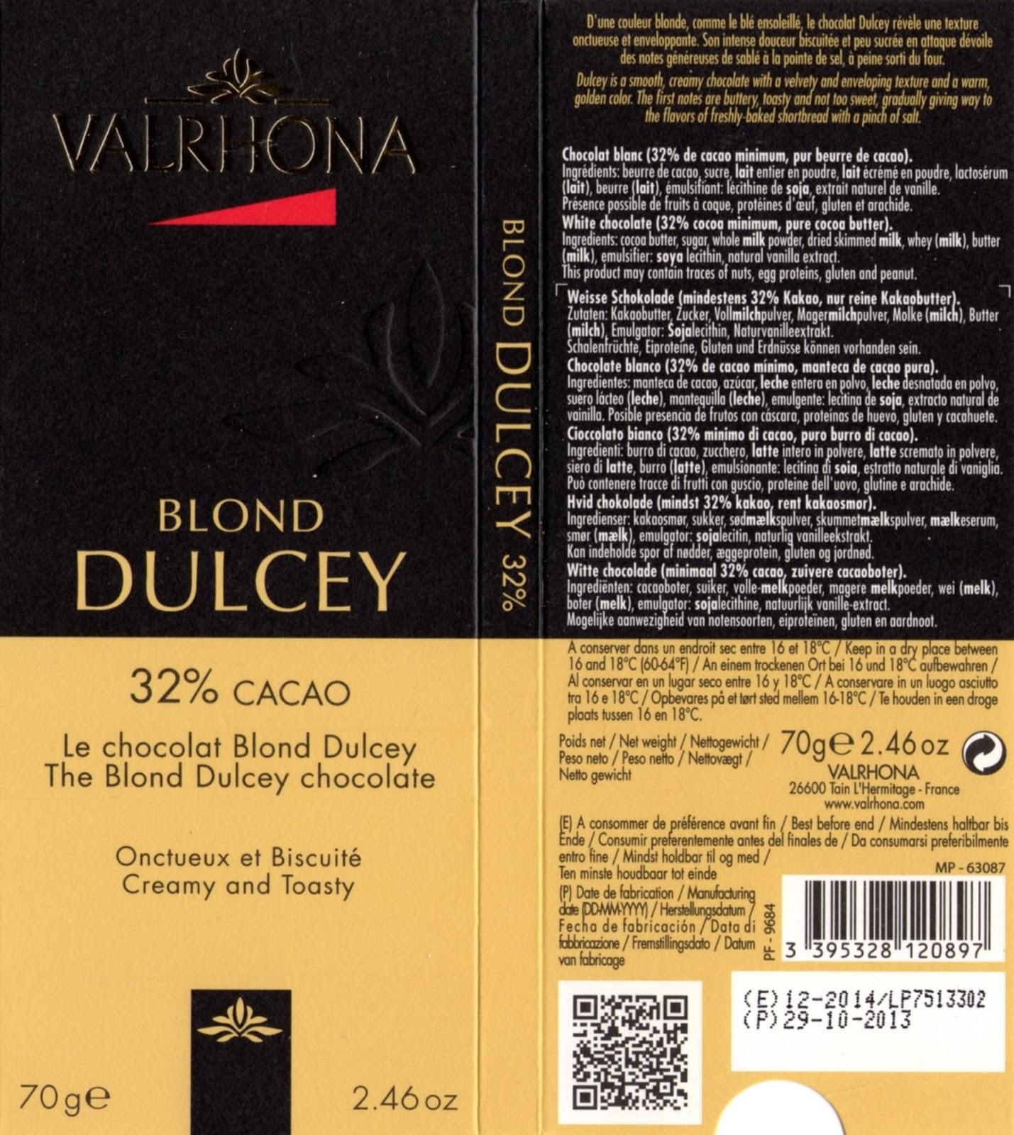 tablette de chocolat lait dégustation valrhona lait blond dulcey 32