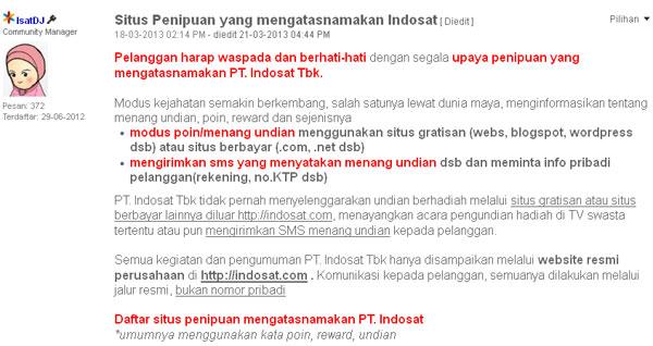 Forum Ngobrol Indosat Bahas Situs-Blog Penipuan