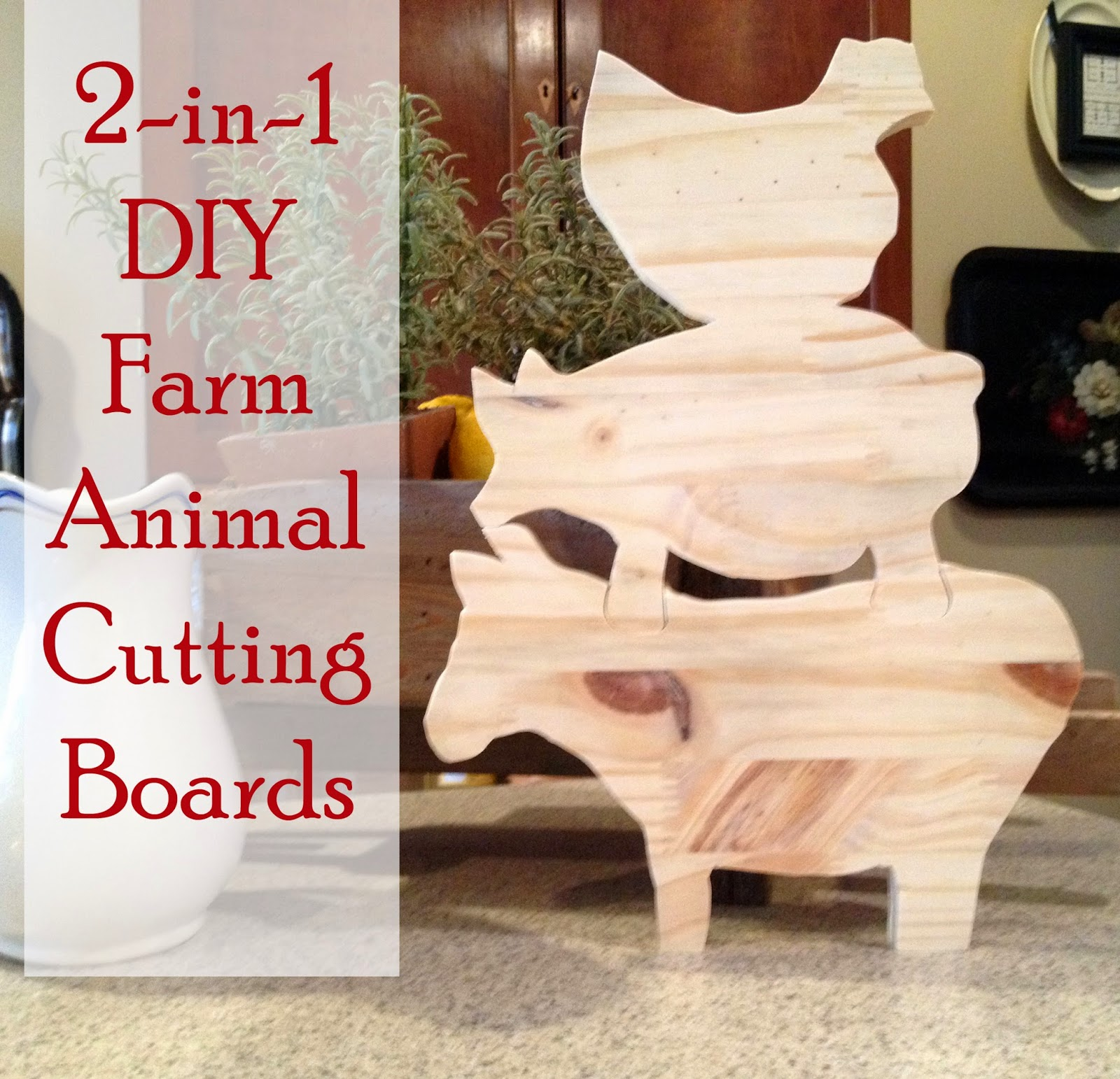 easy 2-in-1 farm animal cutting board
