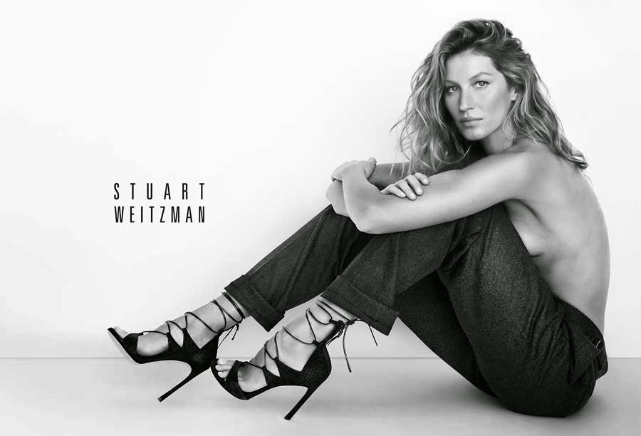 Gisele Bundchen takes the top off for the Stuart Weitzman Spring/Summer 2015 Campaign