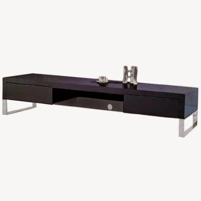 Meuble tv noir bois meuble tv for Meuble noir et bois