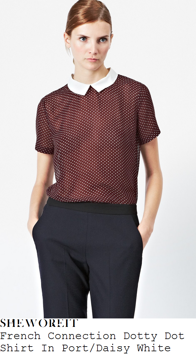 rochelle-humes-burgundy-white-polka-dot-print-collared-shirt-itv-studios