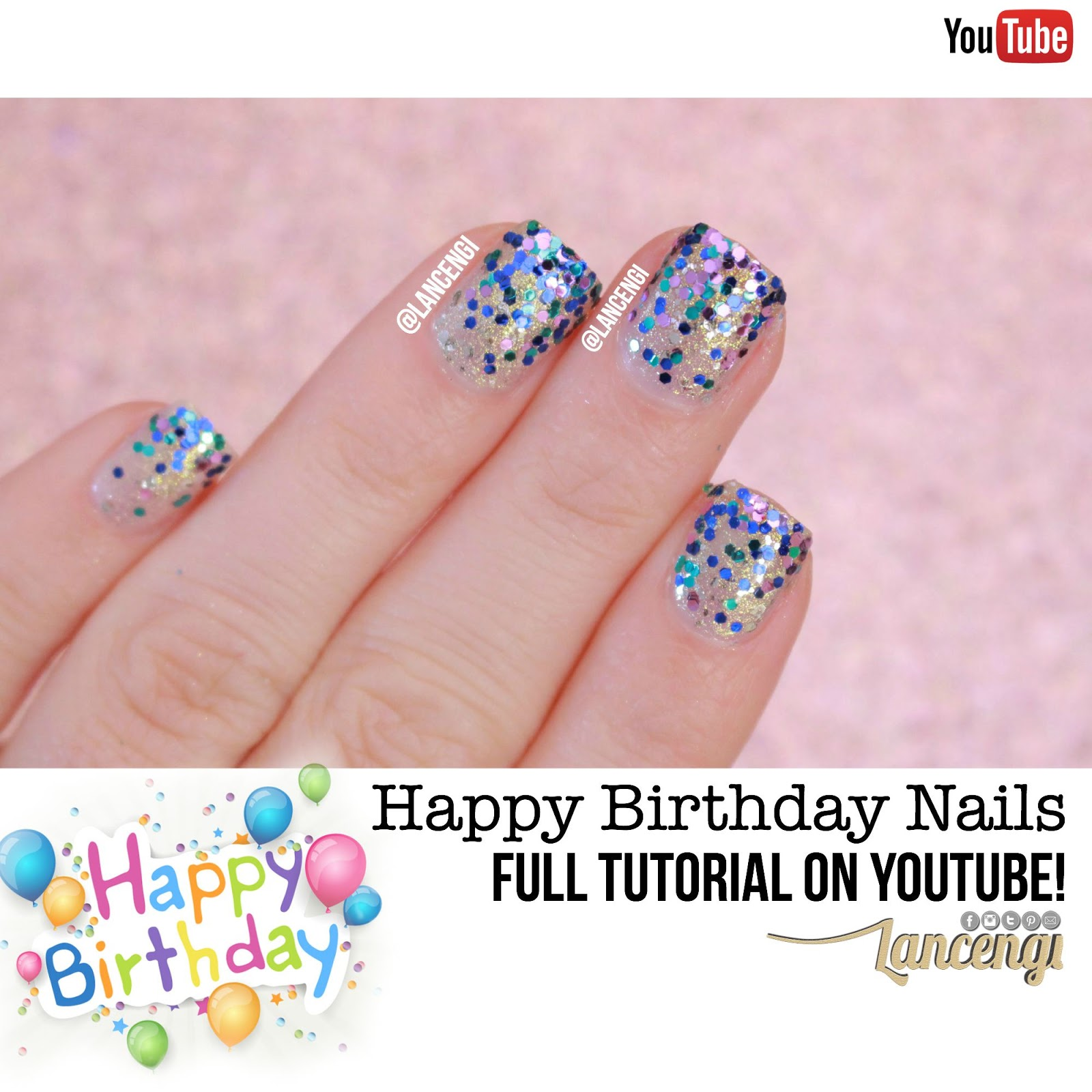 Lancengi Easy Cute Happy Birthday Nails Glitter Gradient