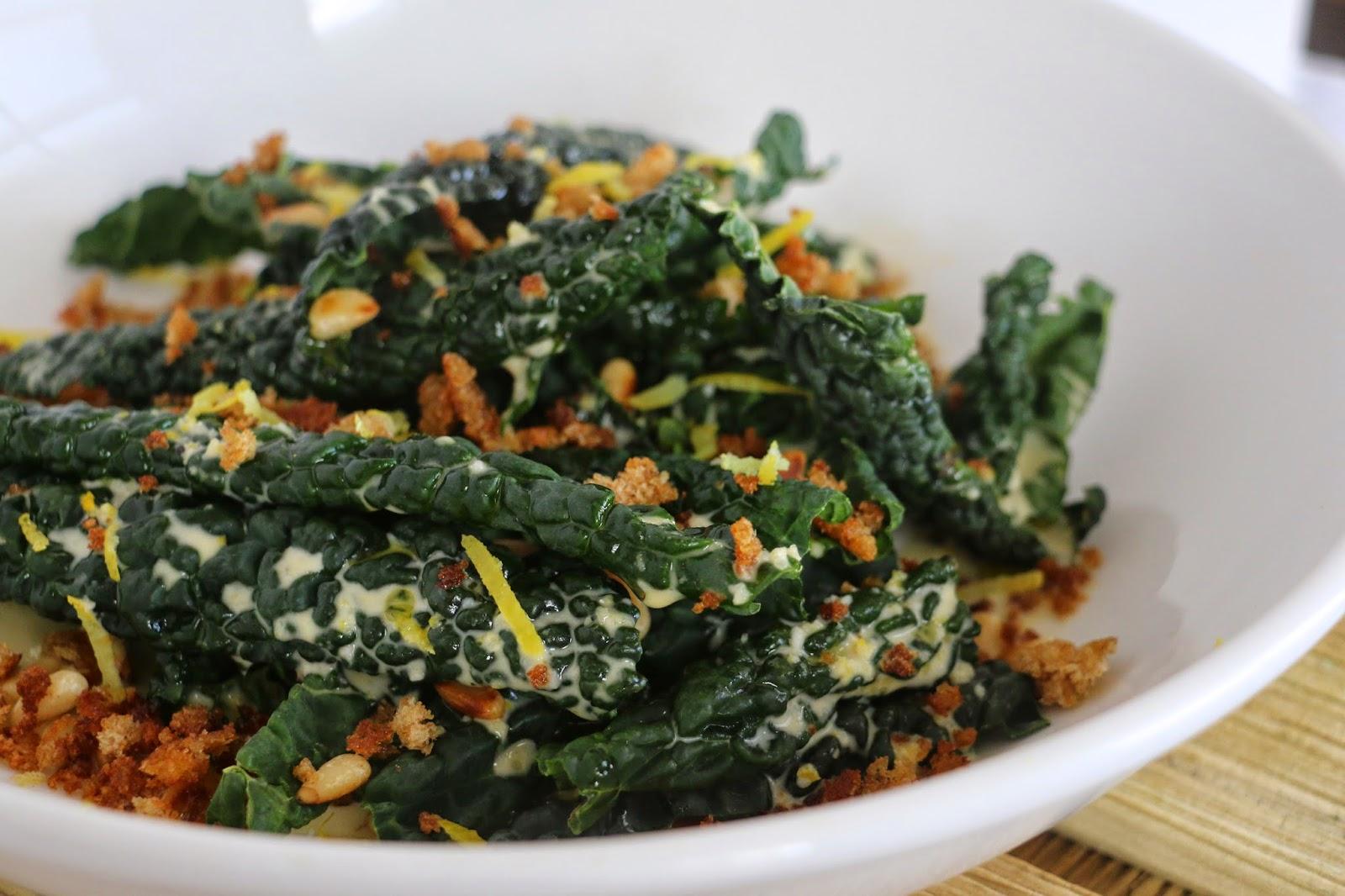 Raw Cavolo Nero Caesar Salad