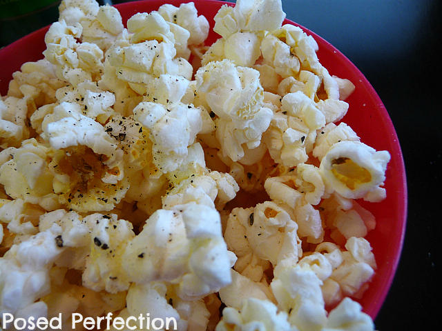 Microwave Alfredo Popcorn by Posed Perfection