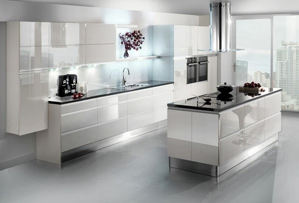 Simple kitchen design white shiny home inspirations for Shiny white kitchen cabinets