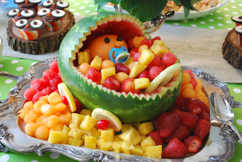 Fussy monkey business owl themed baby shower for Baby shower fruit decoration ideas