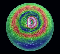 Visualization of wind speed and direction in the lower stratosphere, looking from the top of the Northern Hemisphere down. The polar vortex is highlighted within the black rectangle, with its circulation extending south above the U.S. (Credit: earth.nullschool.net) Click to Enlarge.