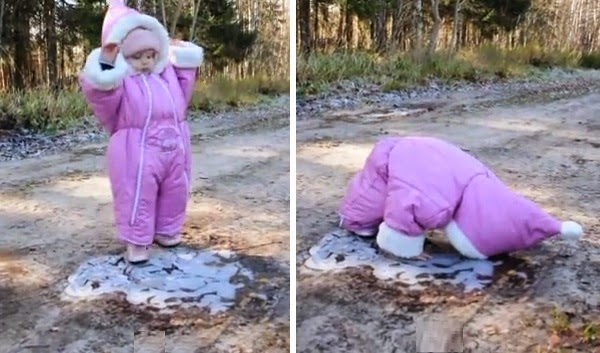 This Cute Toddler Sees A Patch Of Ice For The First Time. Her Priceless Reaction Is HILARIOUS!