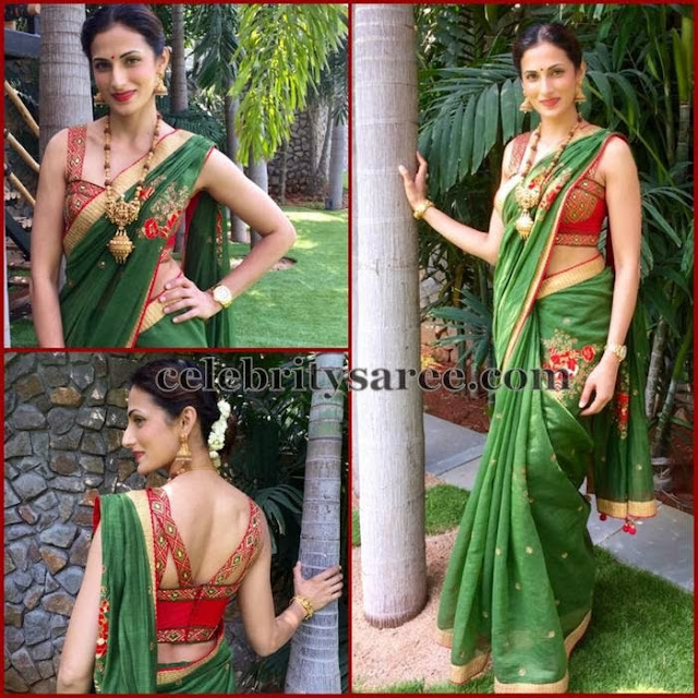 Shilpa Reddy Green Silk Saree