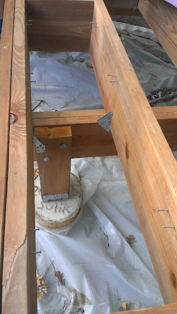 Nails used to hold the rigid insulation in place.