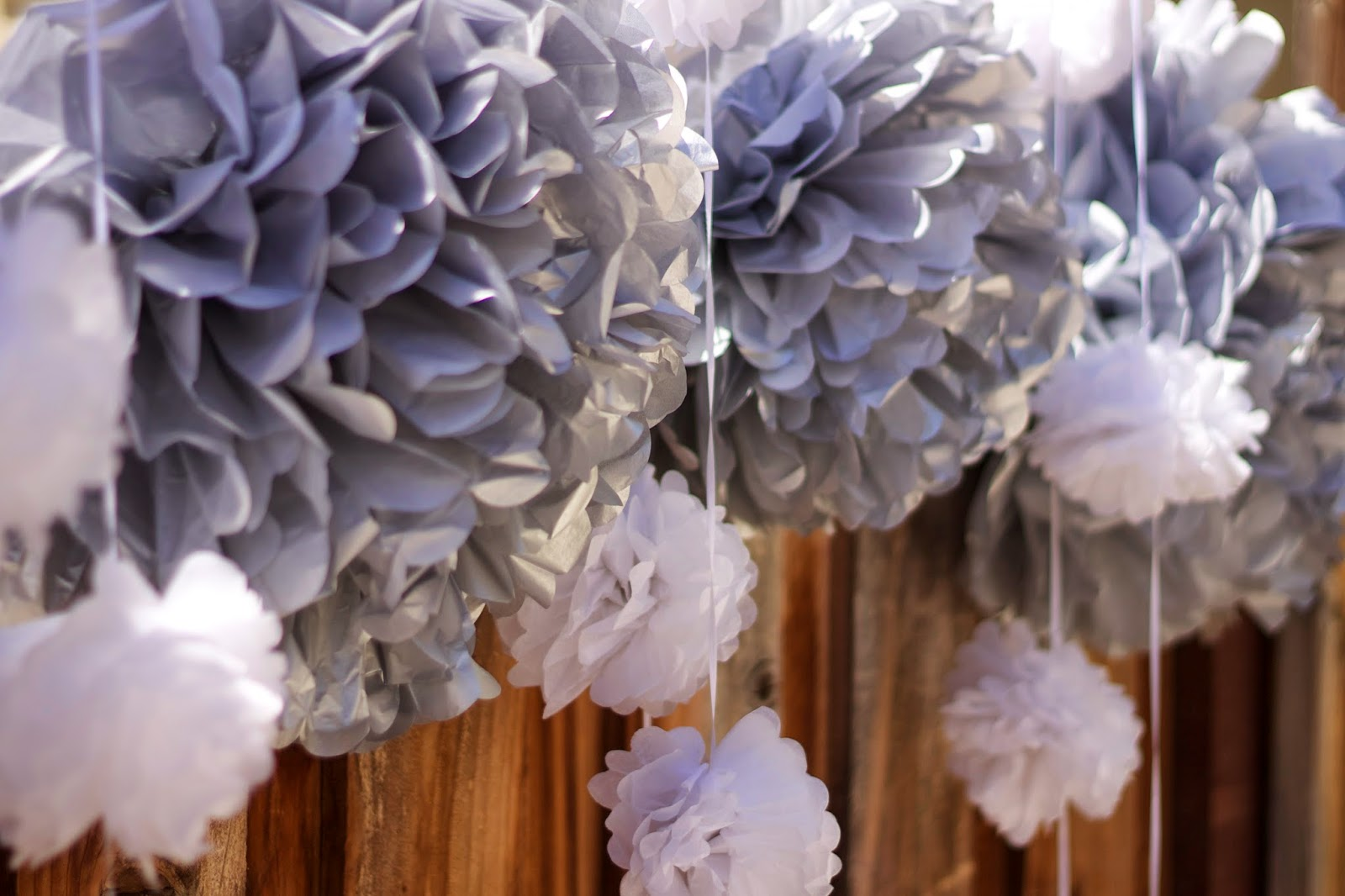 Gray and White Pom poms, Gray and White Party decor, gray white and yellow decor, decorations for dessert table