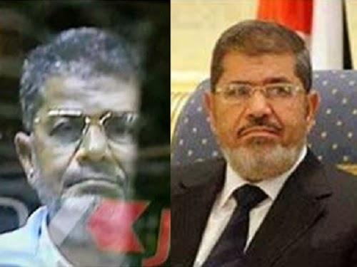 Presiden Mursi  dan seseorang mirip Mursi di pengadilan